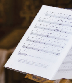 Sheet music book open