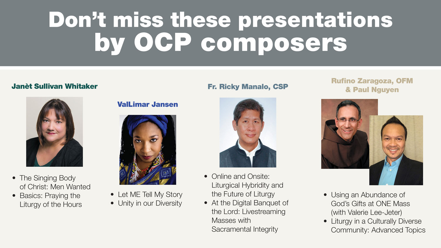 Don't miss these MEGA session presentations by OCP composers