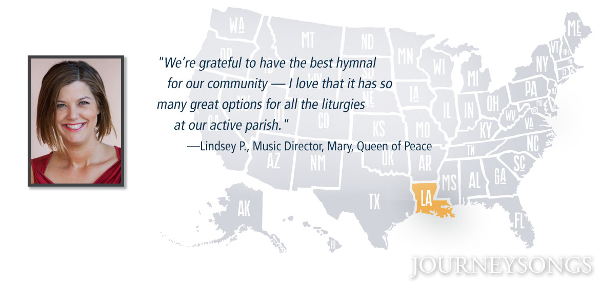 U.S. map with Louisiana and music director Lindsey P.