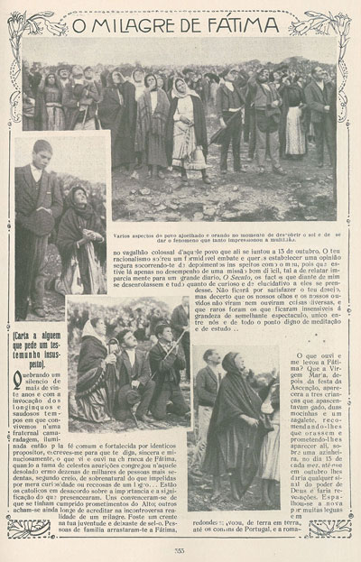 News coverage of the miracle of the sun, Our Lady of Fatima
