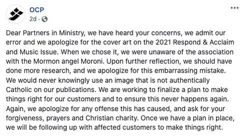 OCP Facebook Apology