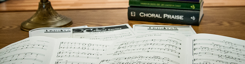 sheet music open on desk